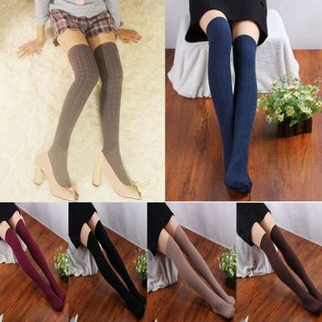 2017 Sale Solid Polyester Knee Socks 1 Pair New Cotton Women Knit Over Knee Thigh High Stockings Spiral Pattern