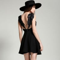 Spaghetti Strap Lace Wings Backless Sleeveless Short Dress