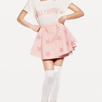 LEFT MY HEART IN HOLLYWOOD HIPPY CREWNECK at Wildfox Couture in  STRAWBERRY ICE, -CLEAN WHITE