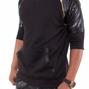 """Jeezy"" Faux Leather Alligator Crocodile Zipper Short Sleeve Fleece Hoodie (Black)"