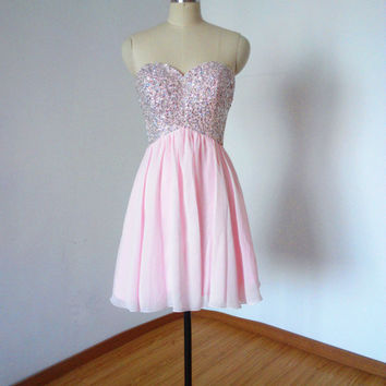 Sexy Sweetheart Pale Pink Chiffon Short Homecoming Dress, Prom Dress, Graduation Dress