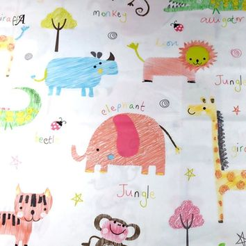 100% cotton cartoon elephant jungle Coconut tree twill DIY for kids bedding sheet handwork patchwork tissues apparel fabrics