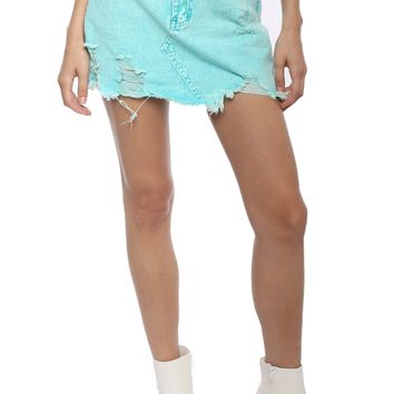 Brooklyn Karma Acid Wash Denim Skirt