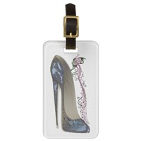 Rhapsody in Blue Stiletto Shoe Art Luggage Tag
