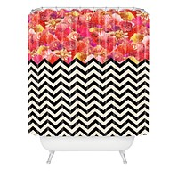 Bianca Green Chevron Flora 1 Shower Curtain
