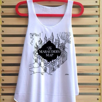 The Marauder's Map Shirt Harry Potter Map Shirts Harry potter clothing Tank Top Tunic TShirt T Shirt Singlet - Size S M L