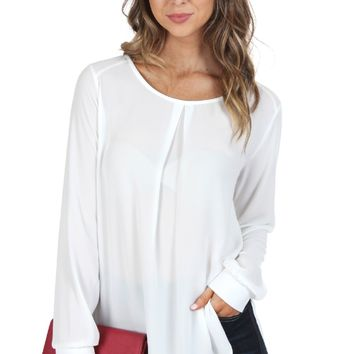 Classic Keyhole Blouse Off White
