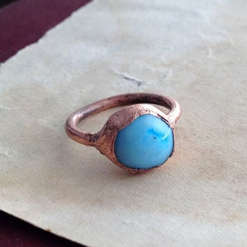 Sky Blue Lampwork Ring - Electroformed Copper Ring - Size 6