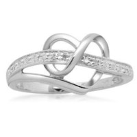 Sterling Silver Diamond Heart Ring (1/20 cttw, I-J Color, I2-I3 Clarity), Size 6