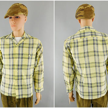 1960s Vintage / JC Penney Towncraft / Yellow Plaid Shirt / Long Sleeve / Mens Dress Shirt / Size M 38-40 / Preppy Shirt / Casual Wear Cotton