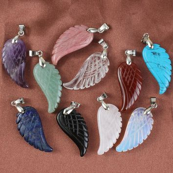 Silver Plated Natural Colorful Stones Angel Wings Pendants