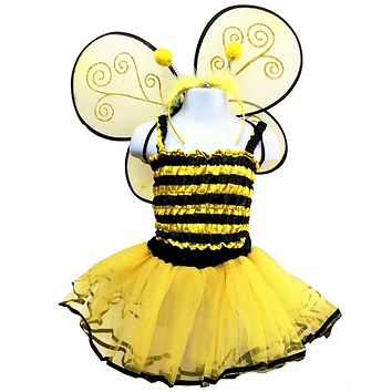 Girls 4 Piece Bumble Bee Costume Set with Sparkle Wings Top Tutu and Headband