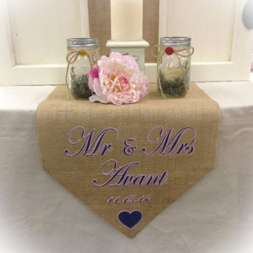 "Burlap Table Runner 15"" wide with monogram for sweetheart table"