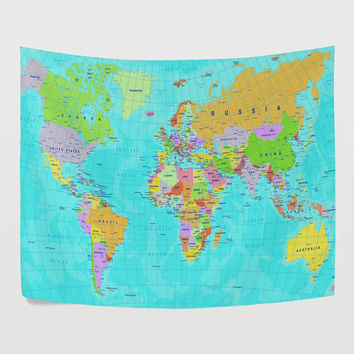 Aqua World Map Tapestry Wall Hanging Geography Global Map Wall Decor Art for Bedroom Living Room and Dorm