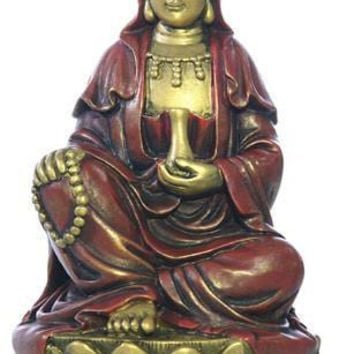 Kuan Yin Holding Waters of Compassion and Mala Rosary Statue 5.75H