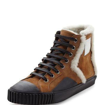 ONETOW shearling fur lined suede high top sneaker tan balenciaga 2
