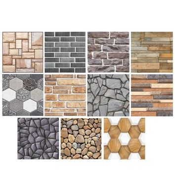 Rustic 3D Decorative Wall Decals Brick Stone Self-adhesive Wall Sticker Home Decor Wallpaper Roll Bedroom Kitchen Decor