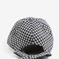 Bow Back Gingham Cap