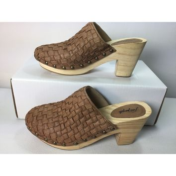 Free People Brown Adelaide Clog, Size 8US / 38EU