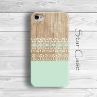 iPhone 4 Case, iPhone 4s Case Wood, iPhone 5 Case, Floral iPhone 5 Case, Girly iPhone 5 Case, iPhone 5s Case Wooden Pretty Mint Teal Fowers