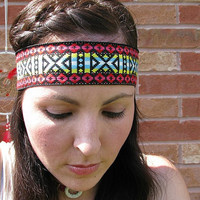 Hippie Tribal Headband, Native aztec print Wide Head Band, Festival band, geometric print Red, Pink, Blue, Yellow