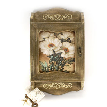 French Country Key Cabinet White Flowers of #Provence,Wooden #keybox, #keycabinet, #keystorage,