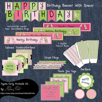 Slumber Party Pajama Party-Digital File-Pajama Party Birthday Package-Party Decorations-Party Supplies-Pink and Green Birthday Decorations