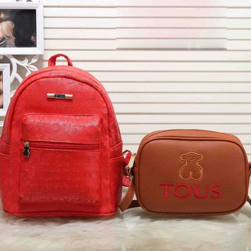 TOUS New Fashion Casual Sport Laptop Bag Shoulder School More letter two piece Bag Backpack Bear Small Shoulder Bags Red+brown