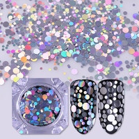 Holographic Silver 2 Colors Mixed Size Nail Flakies Set Round Nail Glitter Nail Sequins Paillette Manicure Tips Decoration