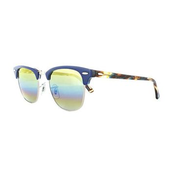 Kalete Ray-Ban Sunglasses Clubmaster 3016 1223C4 Blue Gold Rainbow Flash Small 49mm