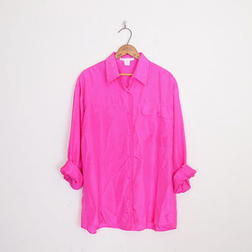 100% Silk Shirt Neon Hot Pink Silk Blouse Oversize Shirt Button Up Shirt 80s Shirt 90s Shirt 90s Grunge Shirt Blogger L XL Extra Large XXL