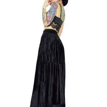 vintage 90s black crushed velvet maxi skirt high waisted gothic skirt witchy ultra draped grunge minimalist maxi dress skirt medium