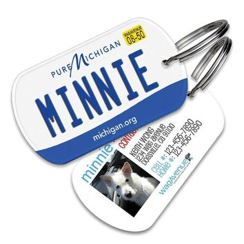 Michigan License Plate Pet Tag