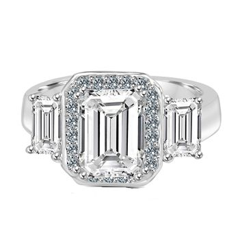 2 CT. (9x7mm) Intensely Brilliant Emerald Cut Diamond Veneer Center with Two Side Baguettes (6x4mm) Vintage Style Sterling Silver Ring. 635R72227