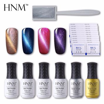 HNM 8pcs/lot 8ML*4pcs Cat Eye Gel Polish+Top Coat+Basic Coat+1 Magnet+Nails Remover Equitment UV Nail Gel Polish DIY Set Varnish
