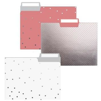 Sweet Dots File Folder Set in Pink, White, and Silver Metallic