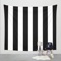 Stripe Black & White Vertical Wall Tapestry by Beautiful Homes