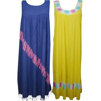 Mogul Womens Maxi Sundress Sleeveless Yellow Blue Summer Evening Resort Wear Tank Dress Wholesale Set Of 2 - Walmart.com