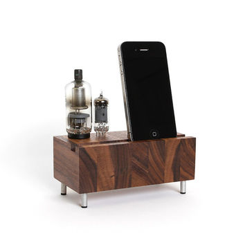 Smartphone dock iPhone Samsung Galaxy stand handcrafted butcher block from walnut wood with double electron tubes