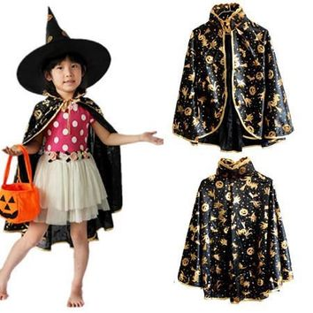 2016 Halloween costume children pumpkin Cloak pumpkin bag party show performance princess boys girls long cloak free size adult