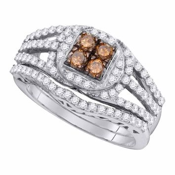 10kt White Gold Womens Round Cognac-brown Color Enhanced Diamond Bridal Wedding Engagement Ring Band Set 1 Cttw