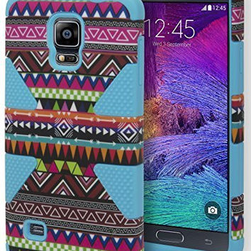 Samsung Galaxy Note 4, Hybrid Sky Blue  Silicone Cover with Tribal Case