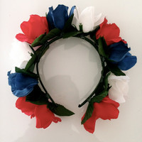 4th of July Special Rose Wild Floral Crown by KuroToShiro on Etsy