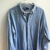 vintage polo ralph lauren denim chambray shirt / large