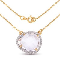 14K Yellow Gold 9.68 Carat Genuine Rare Pink Crystal Quartz and White Topaz Necklace Pendant