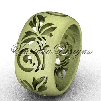 14kt yellow gold floral matte finish engagement ring, wedding band VD10034G