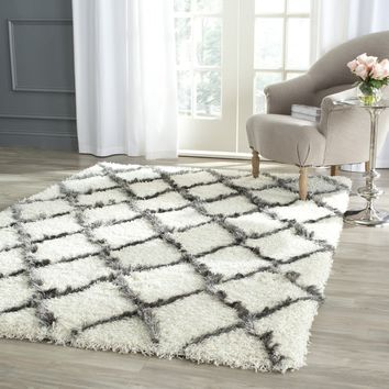 Safavieh Moroccan Shag Collection MSG343A Ivory and Grey Area Rug (4' x 6')