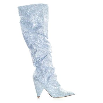 Jean7 by Cape Robbin Retro Disco Shimmering Glitter Embellished Cone Heel Knee High Dress Boot