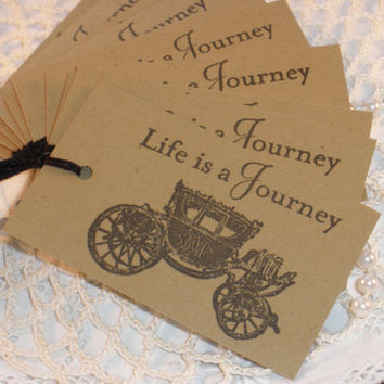Journey Vintage Inspired Carriage Wedding Tags Set of 10