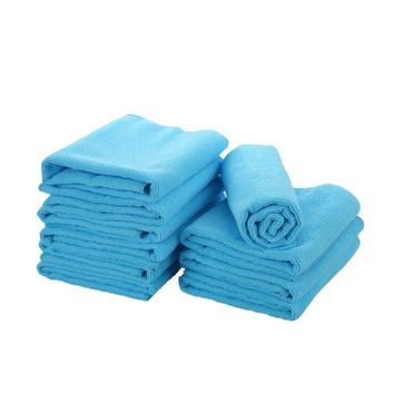 5pcs Microfiber Cleaning Cloth set  MicroFiber Mops Towels  Rags Drying Washing Clean Without Chemicals Sky Blue 30X40cm